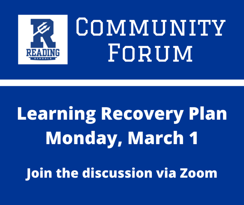 community forum, learning recovery plan, monday march 1, join the discussion via Zoom