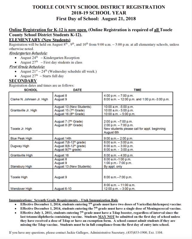 image of the 2018 registration schedule