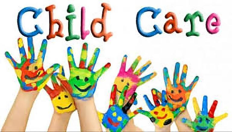 The words Child Care are across the picture. There are also seven hands of children covered with colorful paint and smiley faces.
