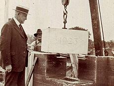 Image of the laying of the 1923 cornerstone of Schermerhorn School