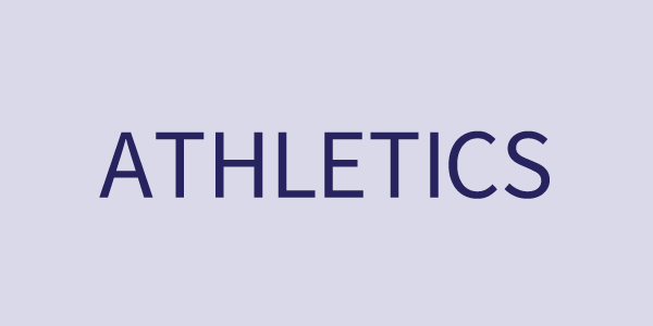 Athletics text on a light blue rectangle button