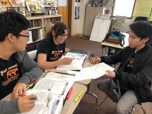 Academic Decathlon Students preparing for online testing