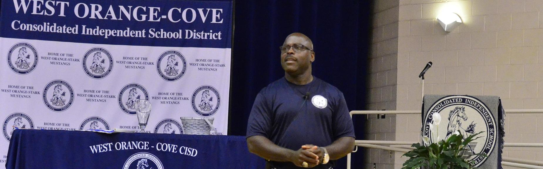 WOCCISD Superintendent Dr. Rickie Harris welcomes staff to the 2019-2020 District Convocation and new school year.
