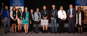 Hemet High School students receiving their Seal of Multiliteracy Award