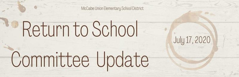 Return to School Committee Update - July 17, 2020 Thumbnail Image