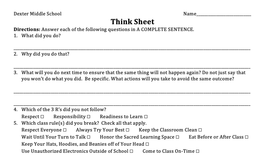 Sample Think Sheet