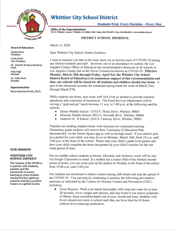 Please see the attached letter for the latest information on the Coronavirus status as it pertains to our district.   Favor de leer la carta adjunta para información más actualizada sobre Coronavirus.