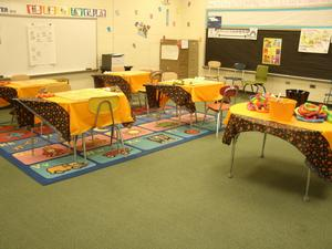 Table are set up for players in first grade.