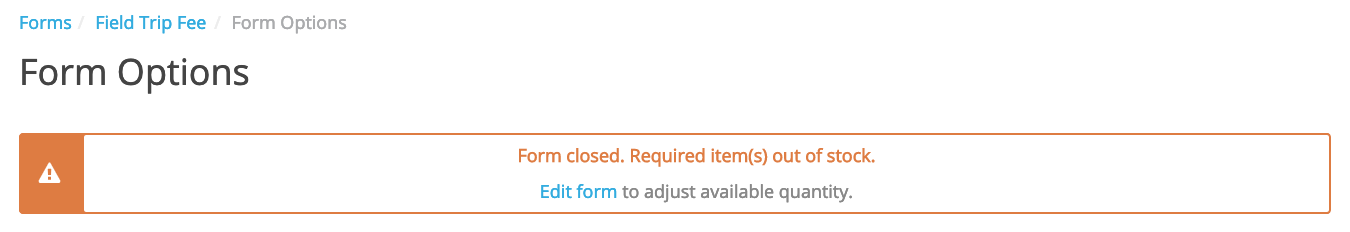 item out of stock warning