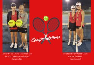 Four Tennis winners celebrating