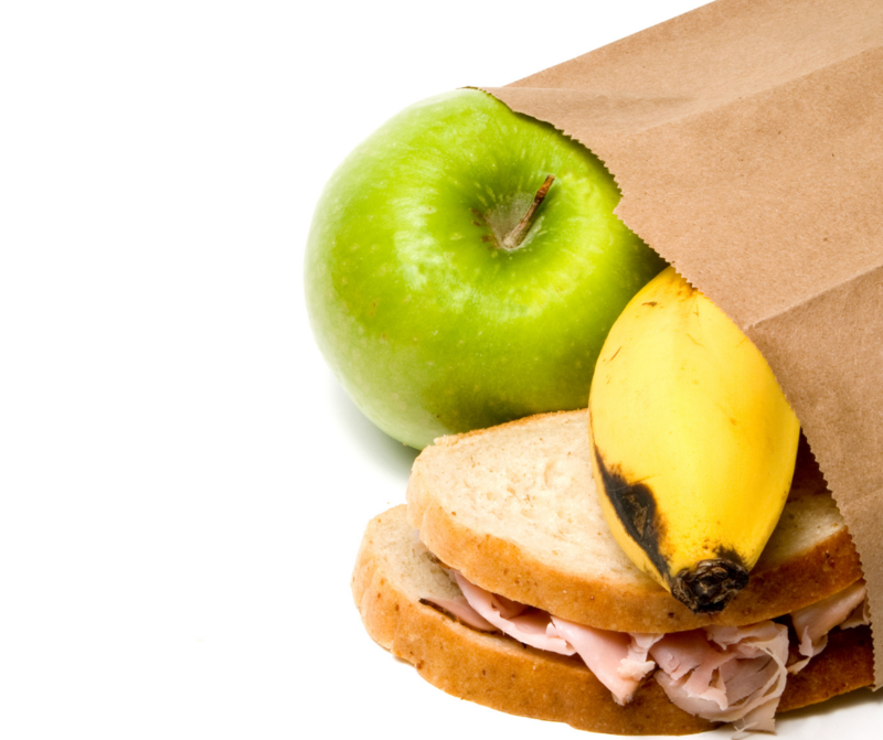 sack lunch with banana apple and sandwich