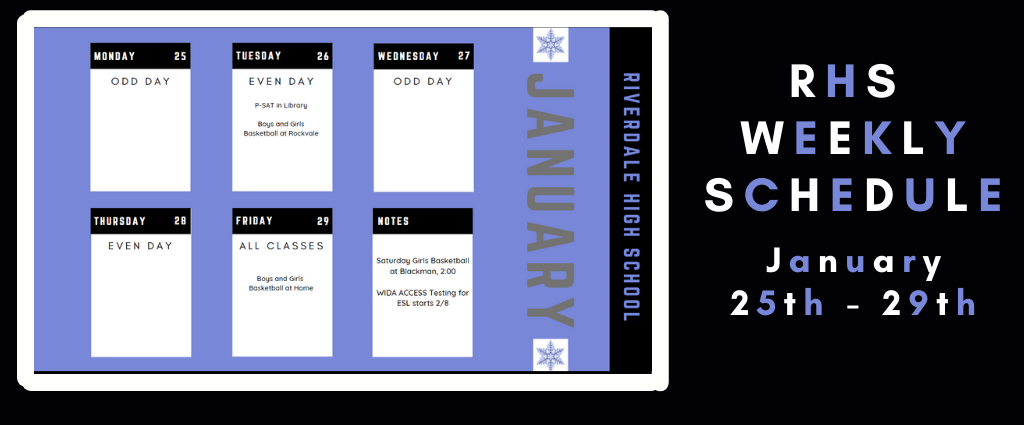 Weekly Schedule 1-25-2021