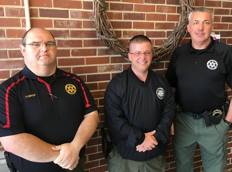 The Cheatham County School District says farewell to Sgt. Chris Gilmore (center), who supervises our School Resource Officer program. Tony Pierce (left), the SRO at Cheatham County Central High School, will take over Gilmore's position. Jesse James (right) will replace Pierce at CCCHS.