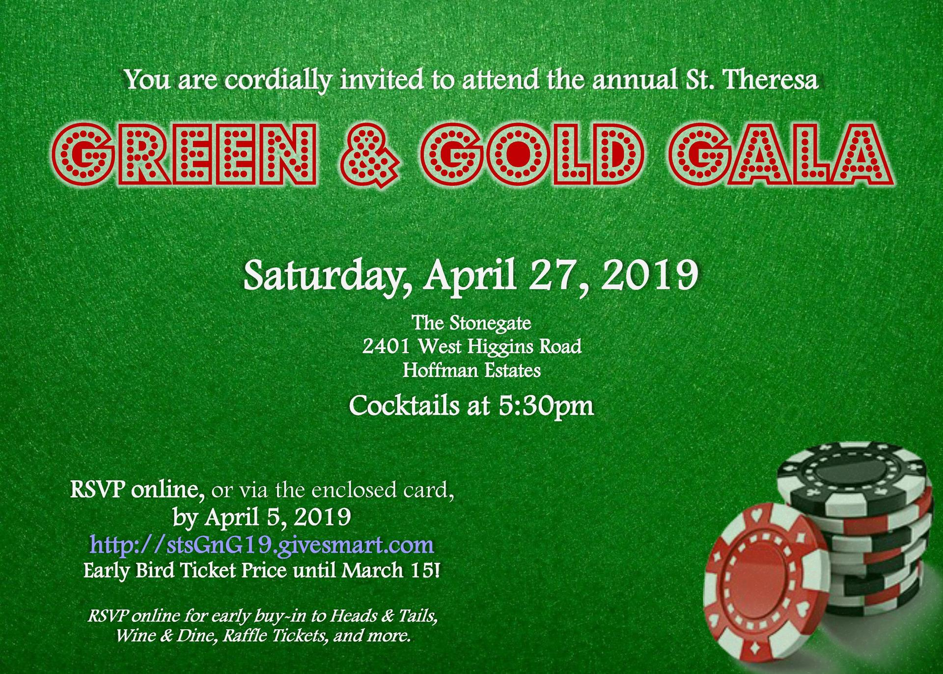 Green and Gold Invitation Details