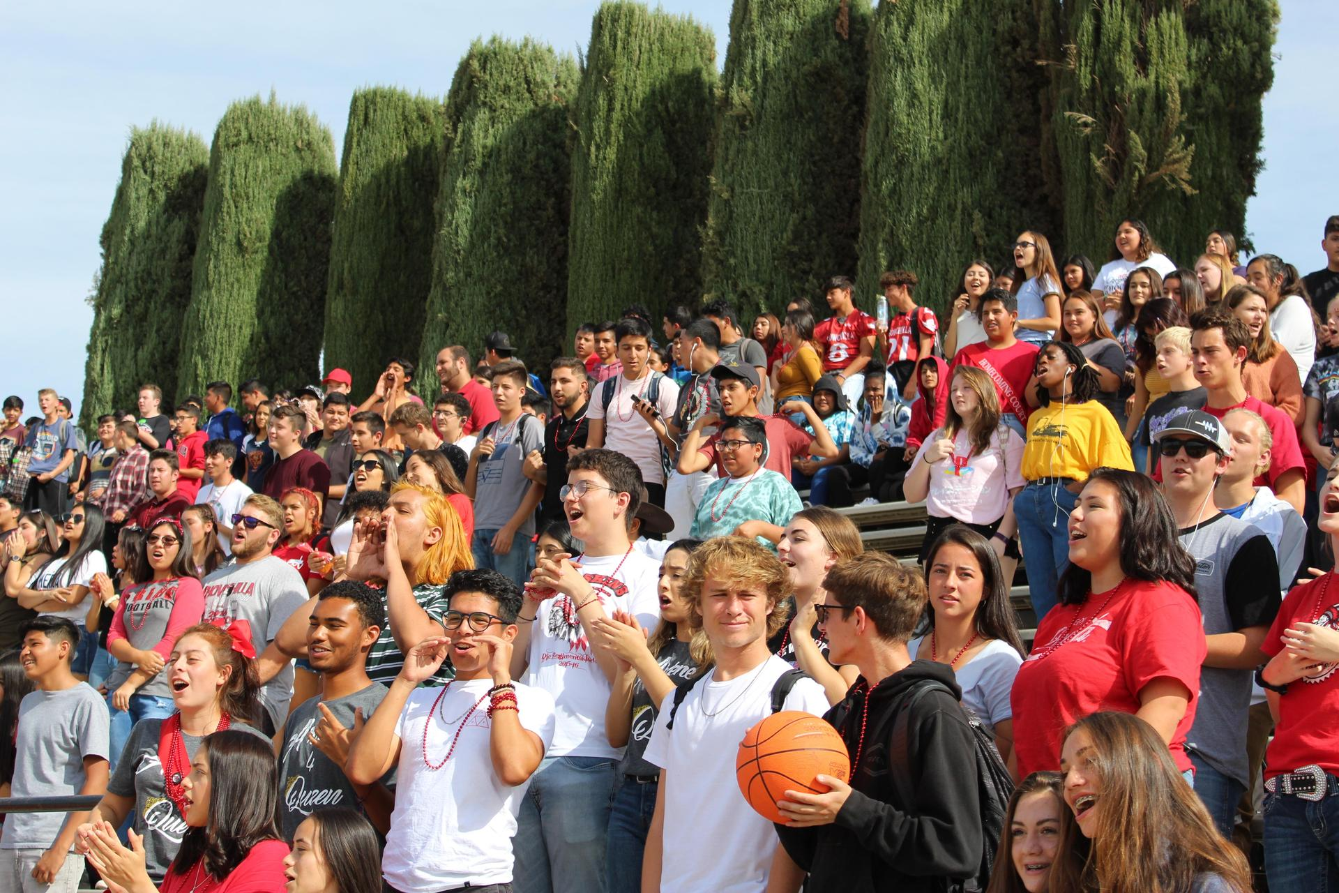 Students having fun at the Homecoming Rally