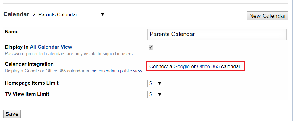 Click the Google calendar link.