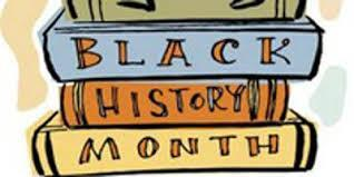 three books whos spines read Black History Month
