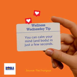 Image of woman holding a Wellness Wednesday card. Content of card is in website post.