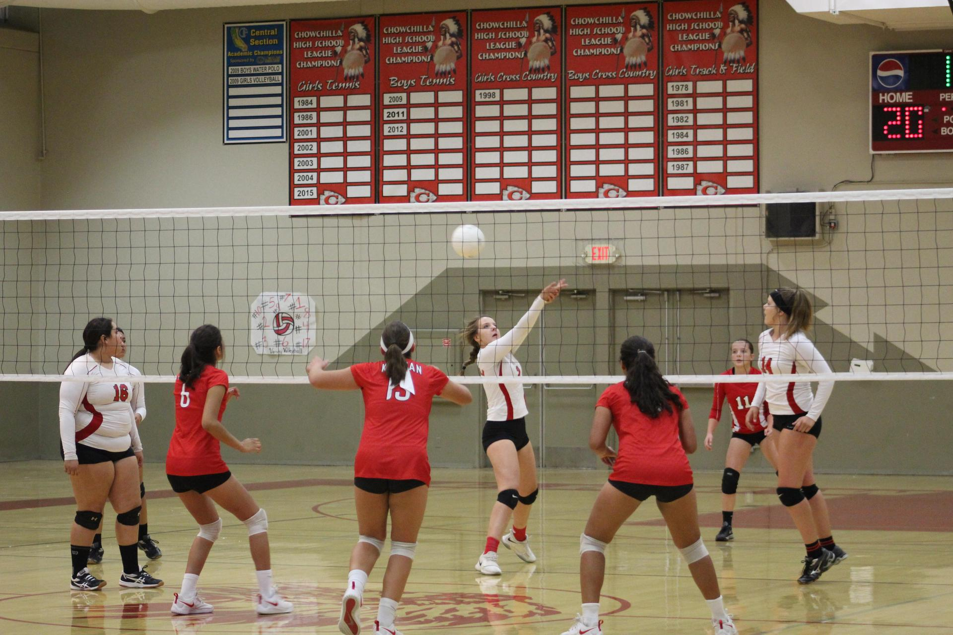 JV girls playing volleyball against Kerman