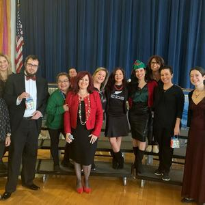 Principal Diaz along with the Holiday Show teachers