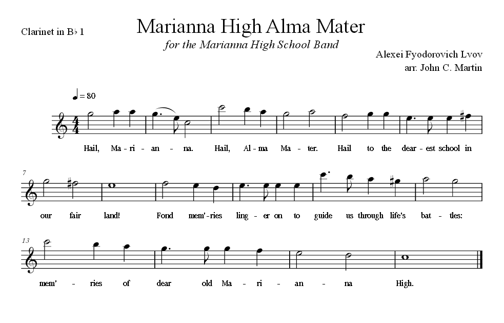 Sheet Music for Alma Mater for the Clarinet in B Flat 1