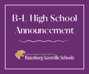 Batesburg-Leesville High School In-Person Students To Begin 5-Days-Per-Week Model