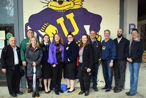 Mendocino County Superintendents tour the UHS campus with Ukiah High School FFA Officers. From left to right Michael Warych, Anderson Valley Superintendent; Mark Westerburg, Willits Unified Superintendent; Holly McLaughlin, Potter Valley Superintendent/Principal; Lucy Burris, UHS FFA Chapter President and North Coast Regional FFA Officer; Deb Kubin, UUSD Superintendent; Jazzmyn Randall, UHS FFA Junior Advisor; Michelle Hutchins, Mendocino County Superintendent; Mike Gorman, Round Valley Unified Superintendent; Warren Galletti, Point Arena Joint Union High Superintendent; Jason Morse, Mendocino Unified Superintendent; and Rebecca Walker, Fort Bragg Unified Superintendent.