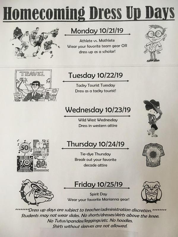 Flyer for Homecoming dress up days.