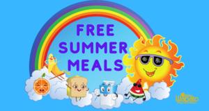 graphic of sun, rainbow, fruits, sandwich, milk
