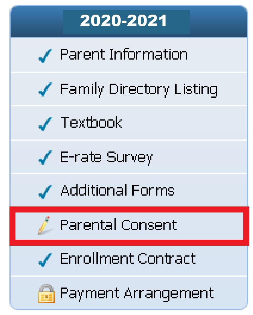 online registration menu 2