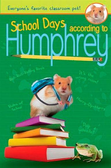 Book Cover- hamster wearing a backpack standing on books with a green background