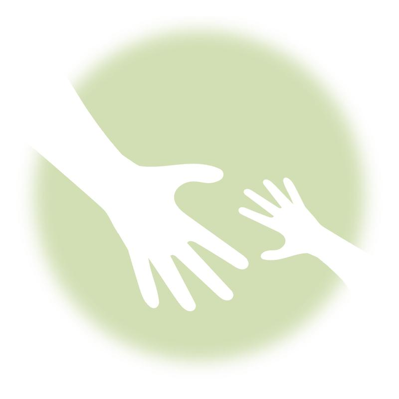 child and adult hands reaching out to each other