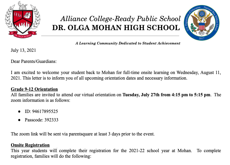 Mohan Returning Students Important Dates and Information Thumbnail Image