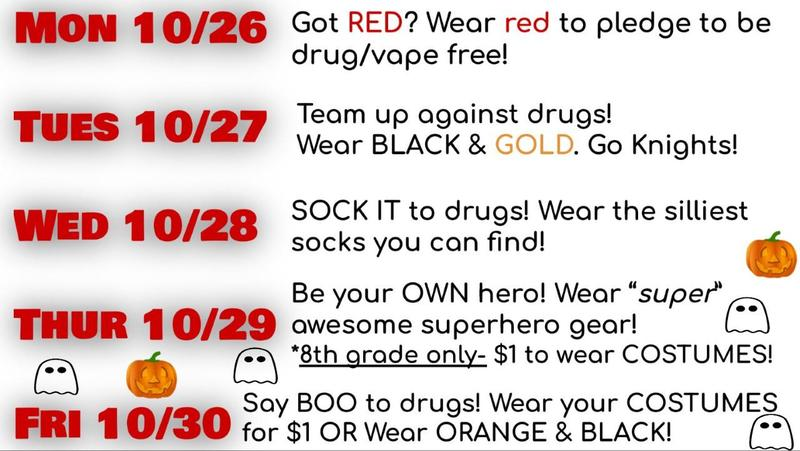 Evans Middle Red Ribbon Week Dress Up Days