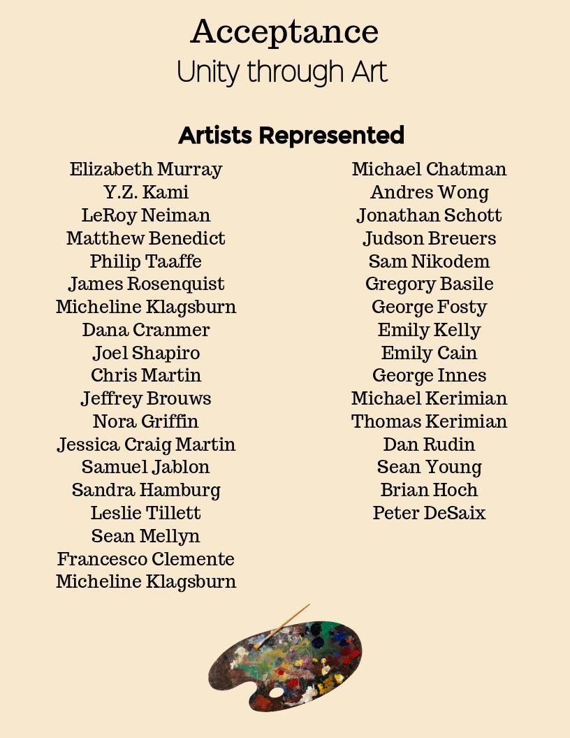 List of featured artists for the Acceptance exhibit