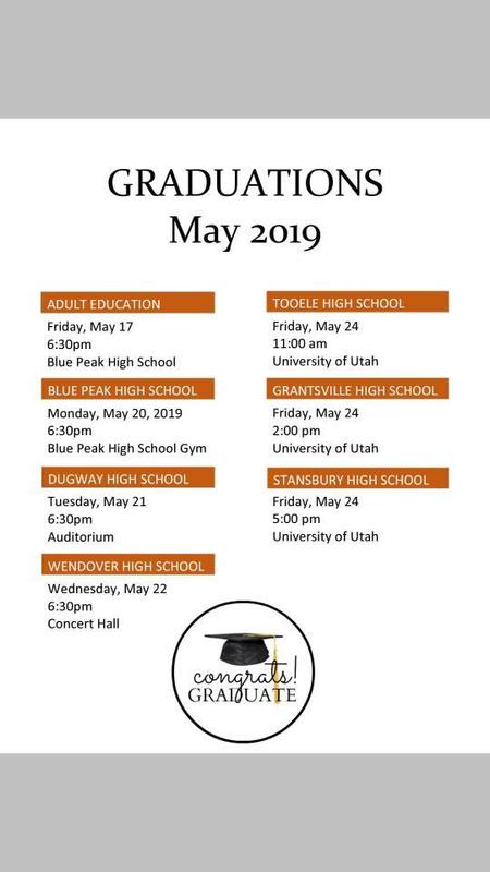 May 2019 graduation calendar for TCSD