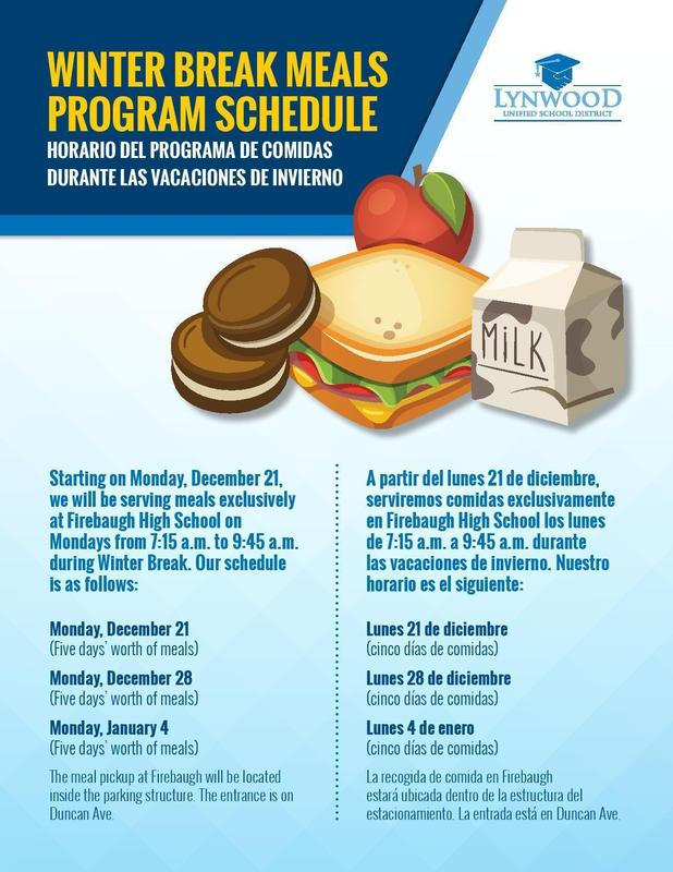 LUSD 2021 Meals Schedule Featured Photo