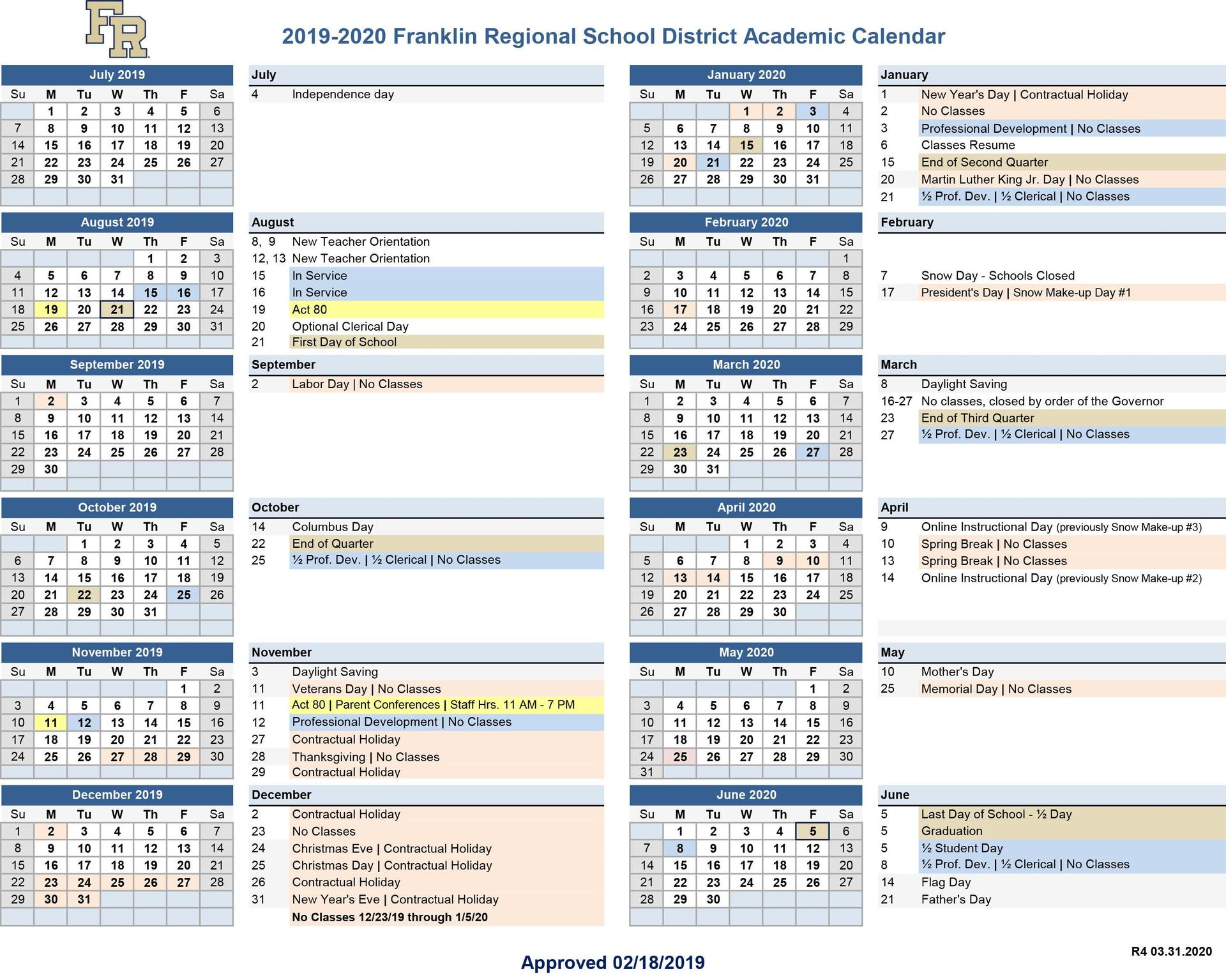 Revised 2020 District Calendar