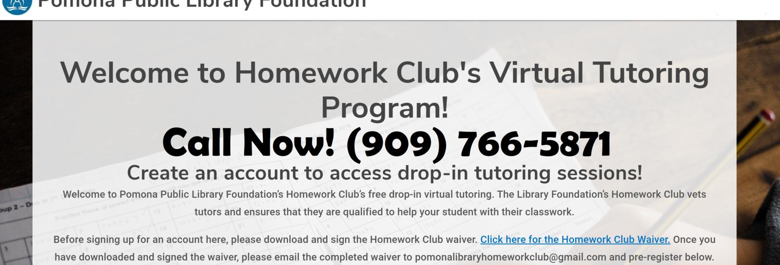 Pomona Public Library Homework Club