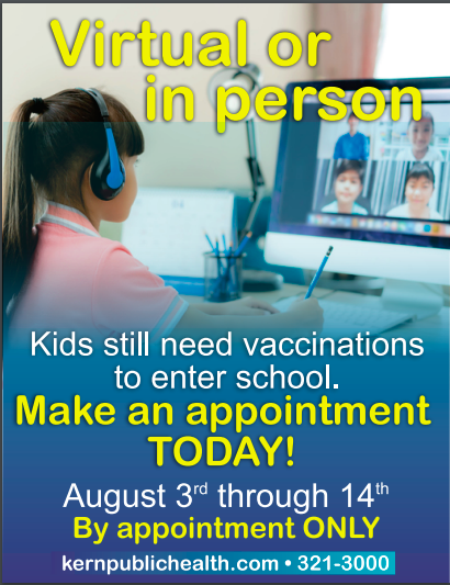 Appointment information for vaccinations.