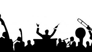 Silhouette of conductor and band members
