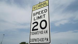 School speed zone sign