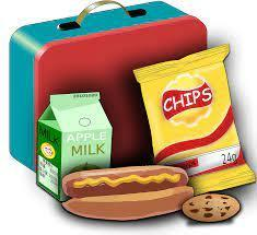the image is clip art of a school lunch: hot dog with yellow mustard down the middle, a yellow bag of chips, a green carton of apple juice, and a chocolate chip cookie. these food items are in front of a red and blue rectangle lunchbox.