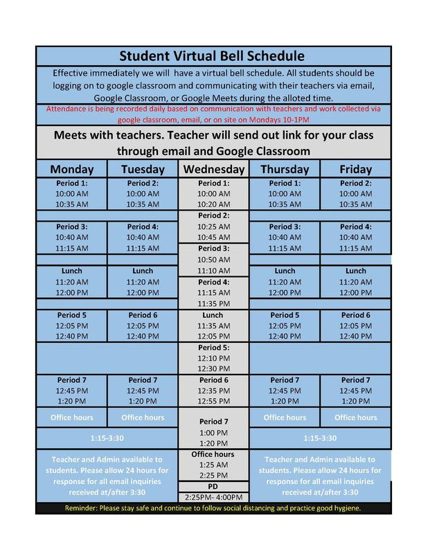 Virtual Bell Schedule (Updated- All teachers have daily office hours to further help students) Featured Photo