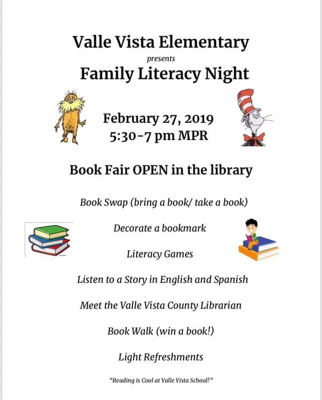 family literacy night Wednesday February 27 5:30-7:00