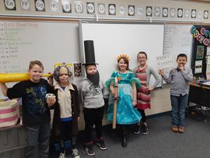 Several students dressed up in costume