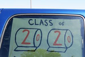 Seniors decorated their vehicles as they picked up their graduation items.