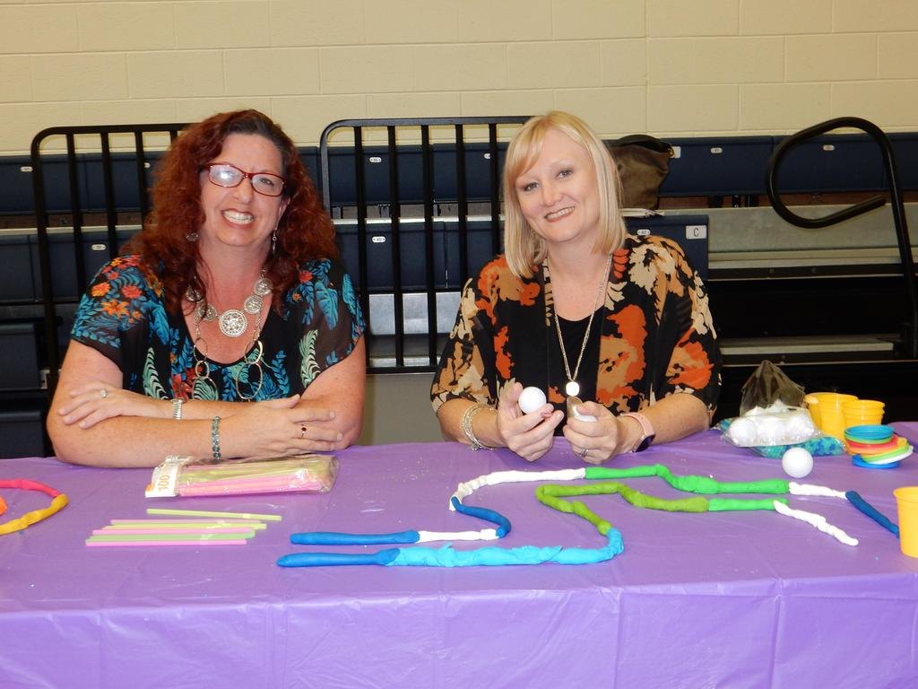Ms. Morton and Mrs. Whitt at their STEAM activity station