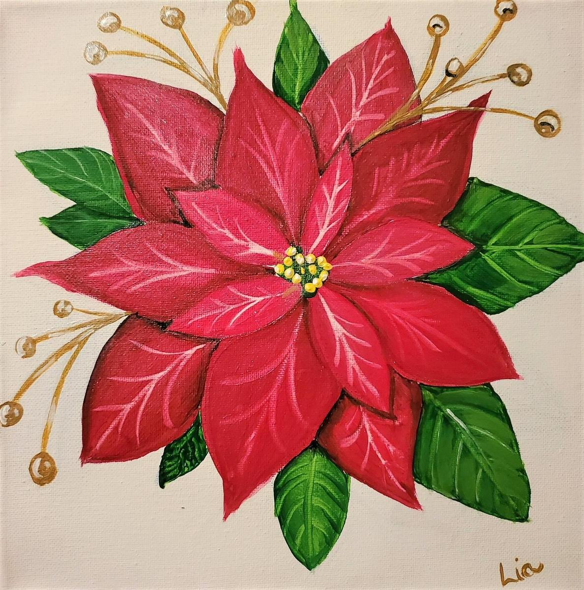 Painting of Poinsetta