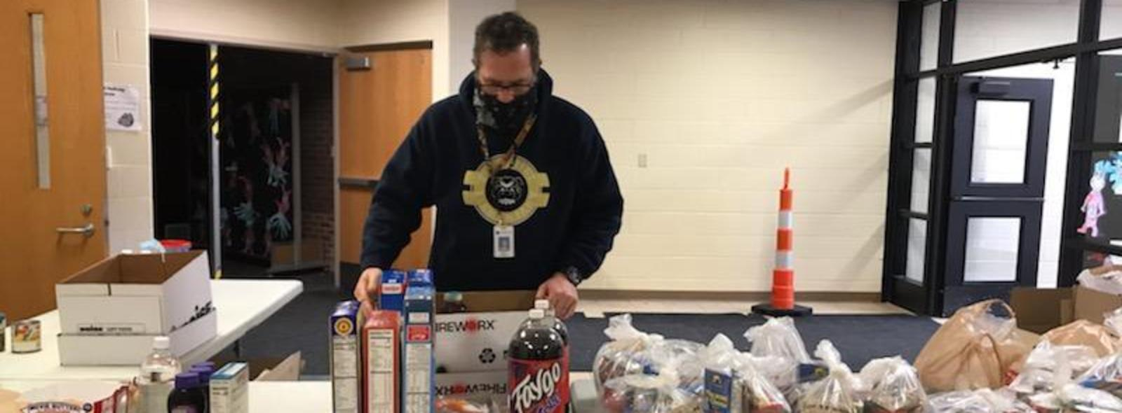 extra food donations go to families at the meal distribution